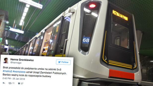 Zielone światło dla rozbudowy metra tvnwarszawa.pl / Twitter
