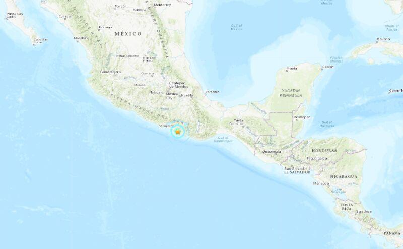 Trzęsienie ziemi w Meksyku (USGS)