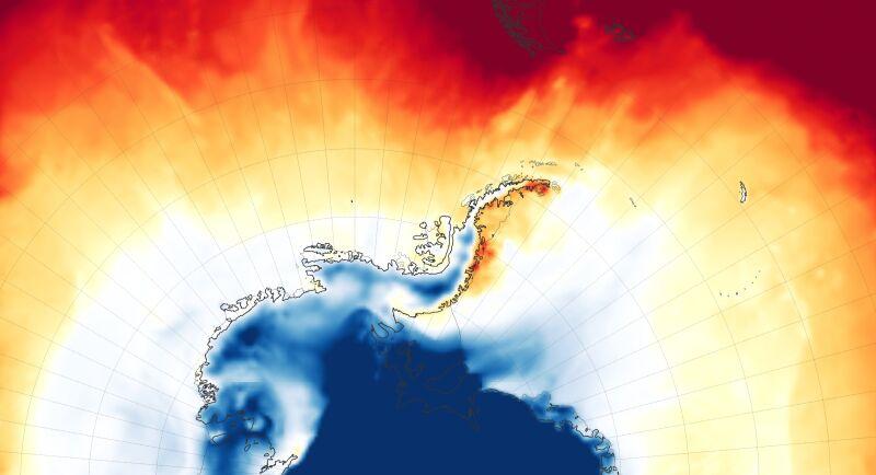 Temperatura powietrza na poziomie dwóch metrów na Półwyspie Antarktycznym (NASA/Goddard Earth Observing System)